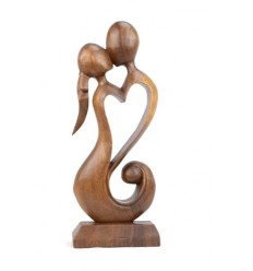 Statue abstract Couple in Fusion h20cm exotic wood carved hand