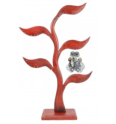 Jewelry tree 5-leaf solid wood red hue