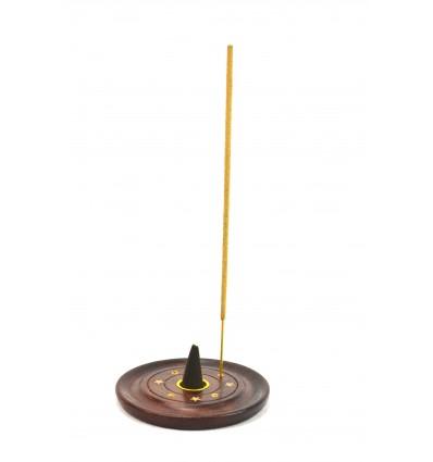 Porte-encens en bois pour cônes et bâtonnets - motif étoile