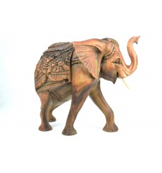 Great Statue wooden elephant H30cm. Rare piece !