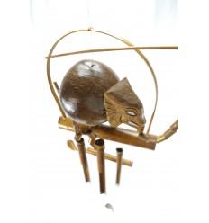 Carillon à vent en bambou et noix de coco décor éléphant pour intérieur ou extérieur