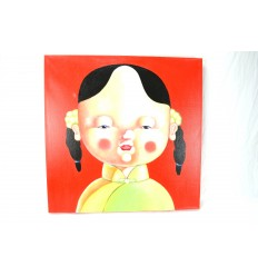 "Painting ""little girl in China"" 60x60cm - original work - deco-asian"