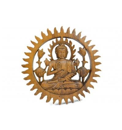 Arredamento parete di Buddha in legno esotico diam. 20cm
