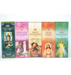 Assortiment d'encens de prière catholique. Lot de 100 bâtons (5 parfums) marque HEM.