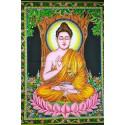 Tenture murale indienne 100x75cm, Batik Bouddha assis en vitarka mudra.