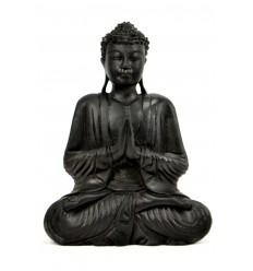 Seduta Statua di Buddha Anjali Mudra in legno finitura nera ebano h30cm
