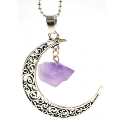 Collar Lithotherapie with pendant Moon and Amethyst natural raw.