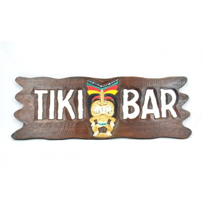 "Grande plaque / enseigne en bois ""Tiki Bar"" fabrication artisanale."