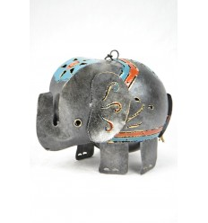 Photophore / Lanterne éléphant en fer forgé artisanal. Déco chambre d'enfant.