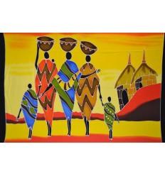 Tenture murale africaine, étole ou plaid motif tribu et village