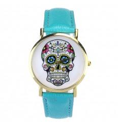 """Montre fantaisie """"Calavera"""" motif tête de mort multicolore - bracelet similicuir bleu."""
