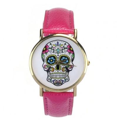 """Mostra fantasia """"Calavera"""" modello di testa di morte multicolore cinturino: similpelle, colore rosa."""
