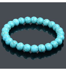 Bracelet Lithotherapie in Turquoise (Howlite) - Protection and purification.