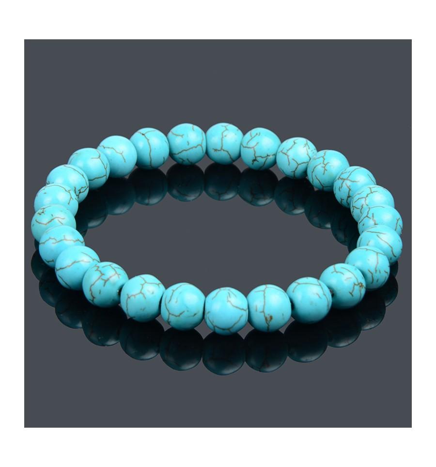 Bracelet Lithothérapie en Turquoise naturelle , Protection et purification.