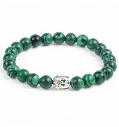 Bracciale in Malachite naturale + perla di Buddha. Spedizione gratuita.
