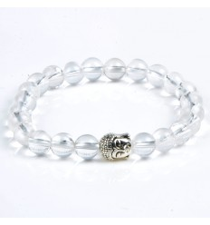 Bracelet of Rock Crystal natural + pearl Buddha. Free shipping.