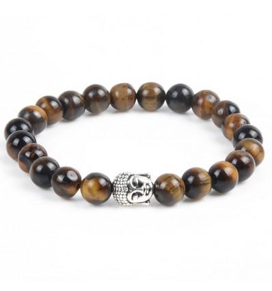 Bracelet Tiger Eye natural + pearl Buddha. Free shipping.