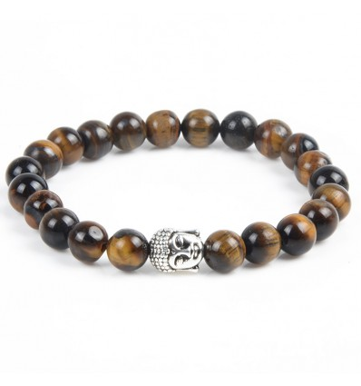 Natural Tiger Eye Bracelet + Buddha pearl. Free delivery.