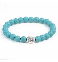 Bracelet Turquoise natural + pearl Buddha. Free shipping.