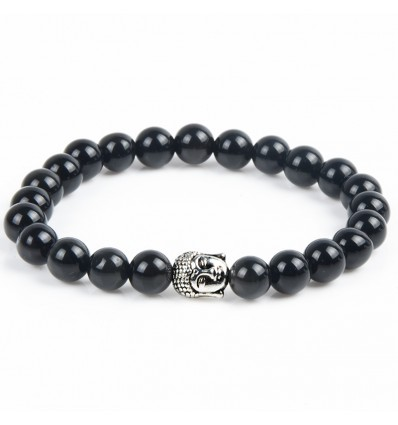 Bracelet in Onyx natural + pearl Buddha. Free shipping.
