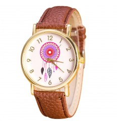 "Montre fantaisie femme ""Dreamcatcher"" motif Attrape-Reve - bracelet marron"