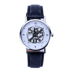 "Shows fantasy ""Da Vinci Cat"" - strap: leatherette black. Free shipping !"