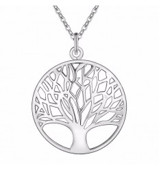 Chain with pendant Tree of Life silver metal. Free shipping.