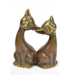 Statuette couple of cats in bronze. Handcrafted.
