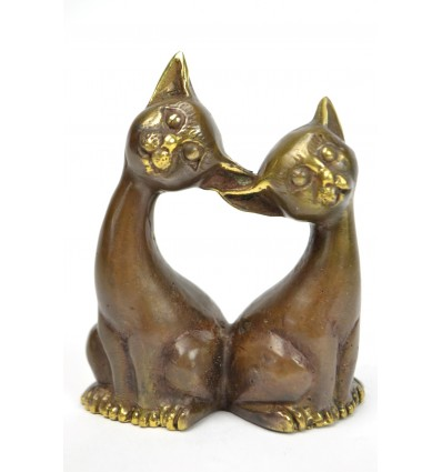 Statuette couple de chats en bronze. Fabrication artisanale.