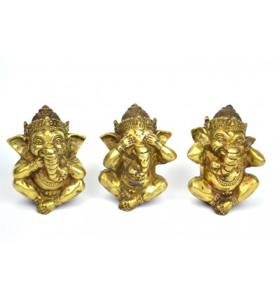 "3 statuettes of Ganesh ""Secret of Happiness"" in solid bronze."