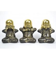 """Les 3 moines """"secret du bonheur"""". Statuettes en bronze massif."""