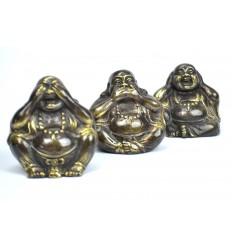 """Statuettes """"3 Bouddhas de la sagesse"""" en bronze massif."""