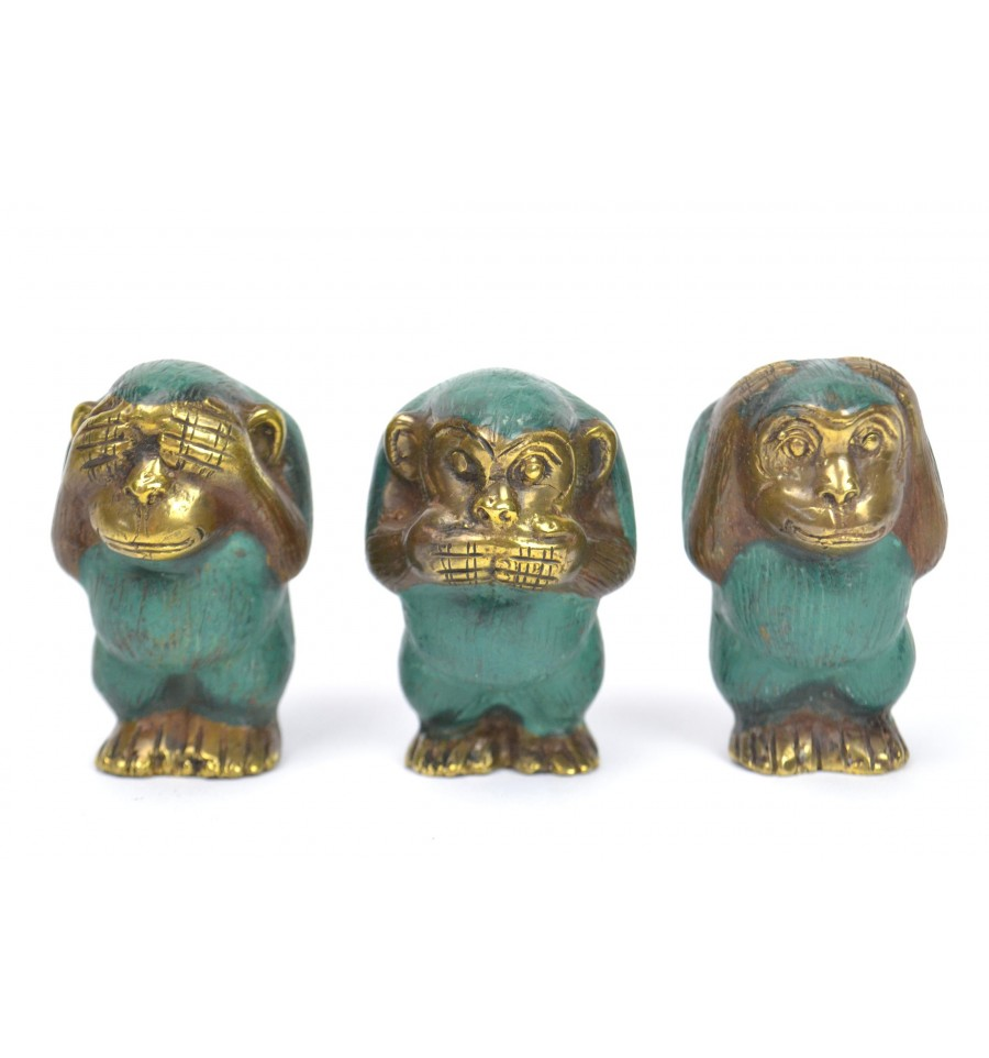 acheter les 3 singes de la sagesse d co statuettes bronze. Black Bedroom Furniture Sets. Home Design Ideas