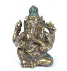 Statuette Ganesh en bronze massif. Déco asiatique indienne.