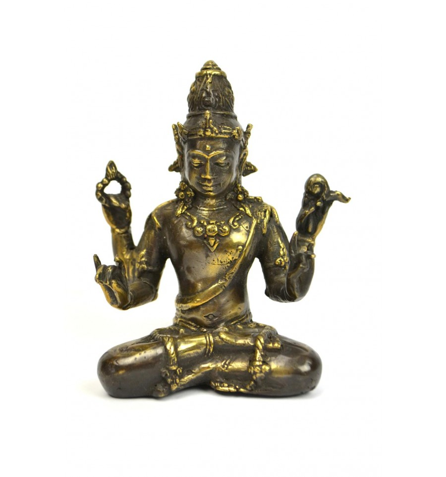 statuette vishnu en bronze pas cher dieu hindou 4 bras d co inde. Black Bedroom Furniture Sets. Home Design Ideas