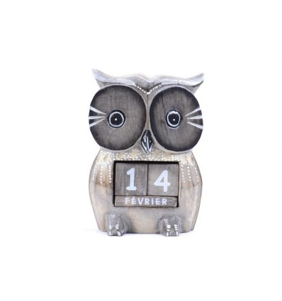 Perpetual calendar Owl in wood