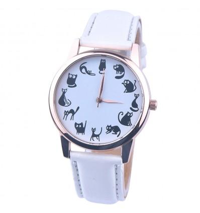 """Montre fantaisie """"12 chats"""" - bracelet similicuir blanc. Livraison gratuite !"""
