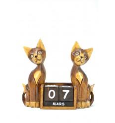 Grand calendrier perpétuel en bois décor 2 Chats. Cadeau institutrice.