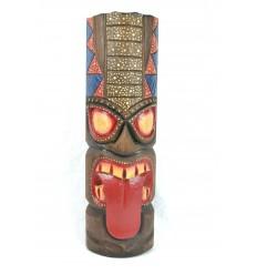 Masque Tiki Polynésien h50cm en bois. Décoration Tahiti.