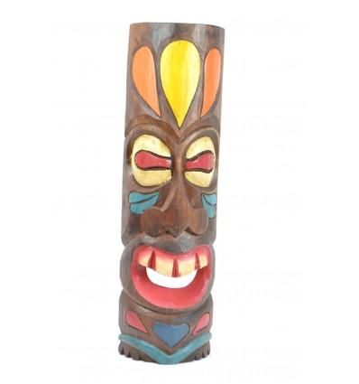Masque Tiki Polynésien h50cm en bois. Décoration murale exotique.