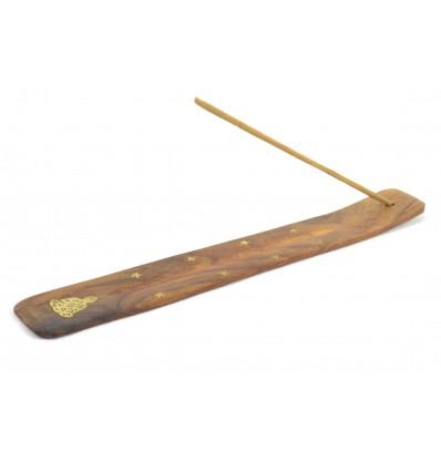 Porte-encens en bois motif Bouddha - pour batons