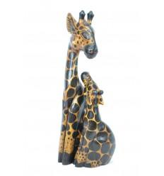 """Statue """"Giraffa e il suo girafon"""" legno H50cm. Deco Safari, Savana In Africa."""