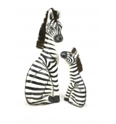 """Statues """"Maman zèbre et son zébron"""" en bois H50cm. Déco Safari Savane Afrique."""