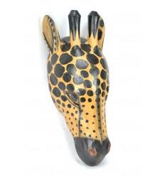 Masque / Trophée Tête de Girafe 50cm en bois. Création artisanale.