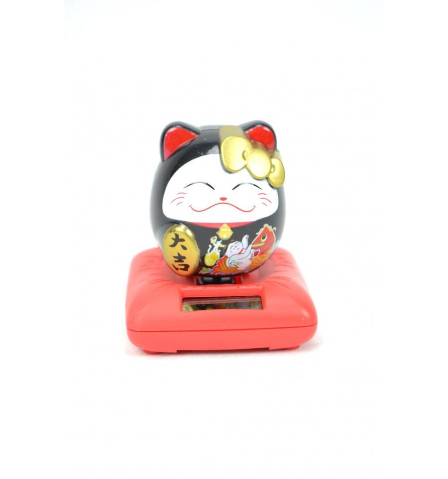 achat maneki neko chat japonais porte bonheur gadget solaire pas cher