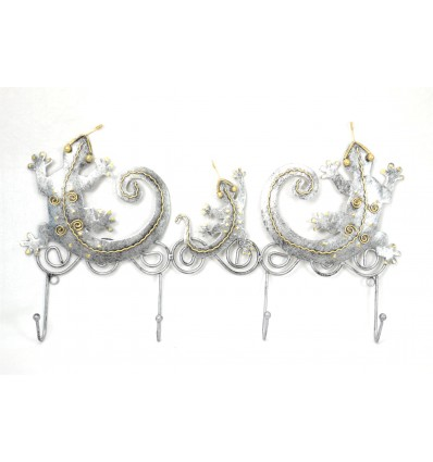Peg wall coat rack Salamanders 4 hooks wrought iron craft. Deco exotic.