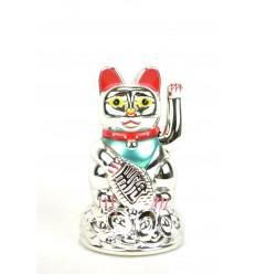 Maneki neko / Petit Chat japonais argenté - Porte bonheur