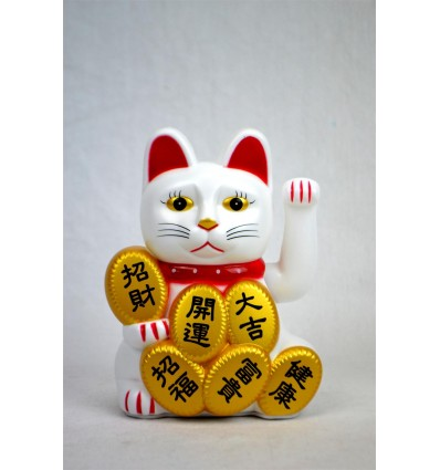 Maneki neko / Chat japonais blanc Porte-bonheur