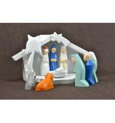 Crèche de Noël en bois et 9 santons couleurs. Déco de Noël fait main..