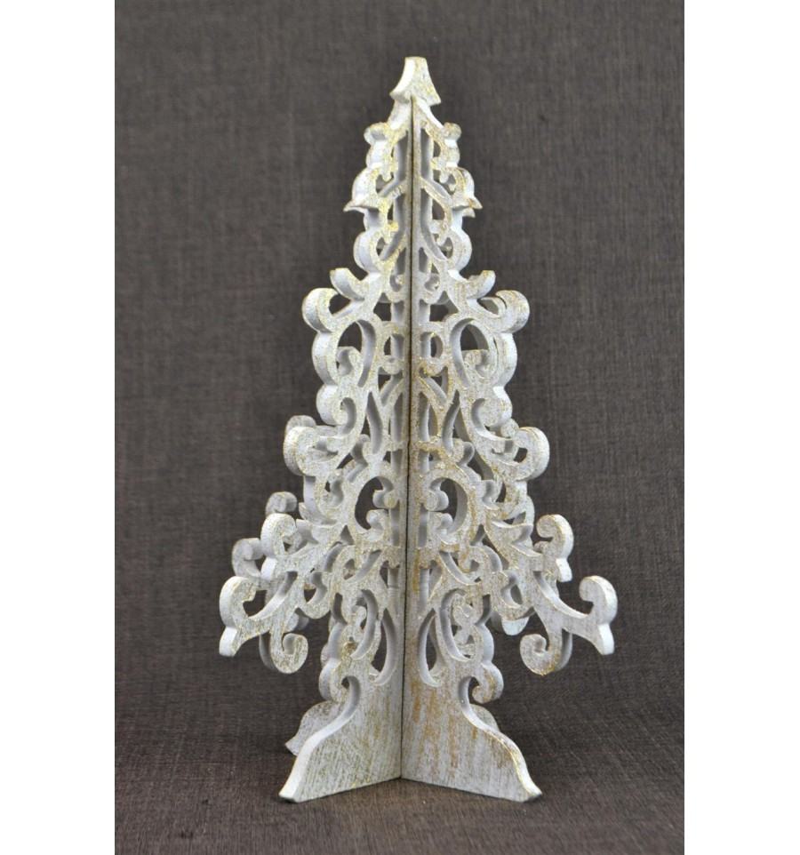 arbre sapin de no l en bois style baroque artisanat no l fait main. Black Bedroom Furniture Sets. Home Design Ideas